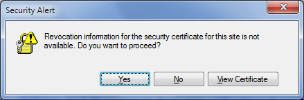 Revocation information for the security certificate for this site is not available. Do you want to proceed?